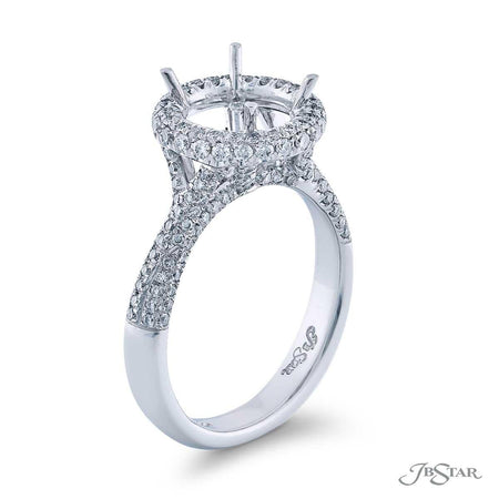 Gorgeous diamond semi-mount featuring 3 sided round diamond pave in a halo setting. Handcrafted in pure platinum. [details] Stone Information SHAPE TYPE WEIGHT Round Diamond 0.85 ctw. [enddetails] | JB Star 1075-027 Semi Mount Settings