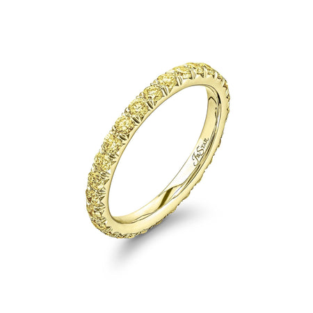 1080-035 | Fancy Yellow Diamond Eternity Band 18K Gold 0.86 ctw. Side View