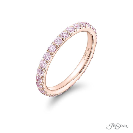 18K Pink Gold / Pink Diamond Eternity Band | 1080-027 | JB Star Rings Side View