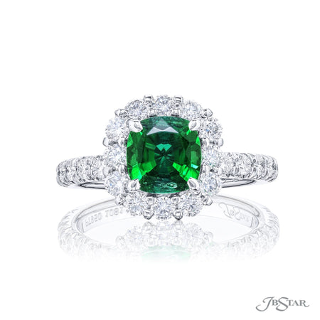 1081-002 | Emerald & Diamond Ring Cushion Cut 1.21 ct. Micro Pave Front View