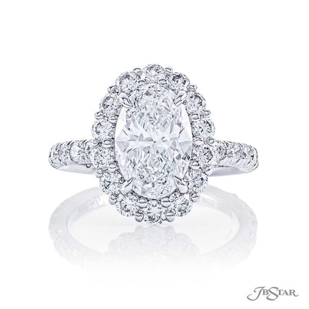 1.75 ct Oval diamond engagement ring with micro pave halo and band 1081-004