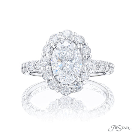 1081-006 2.01 ct Oval Diamond Engagement Ring with micro pave halo and band