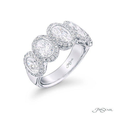 1099-015 | Diamond Wedding Band Oval Micro Pave Bezel-Set 3.01 ctw. Side View