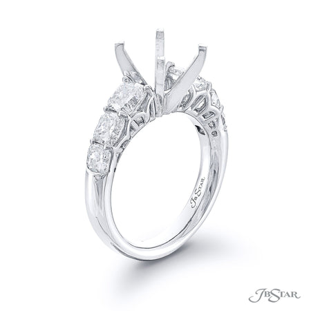 Stunning diamond semi-mount featuring 6 graduating cushion-cut diamonds in a shared prong setting. Handcrafted in pure platinum. [details] Stone Information SHAPE TYPE WEIGHT Cushion Diamond 2.21 ctw. [enddetails] | JB Star 1103-004 Semi Mount Settings