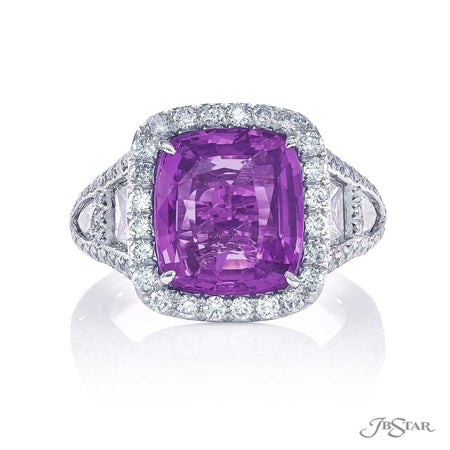 6.5 ct No Head Cushion Cut Purple Sapphire and Diamond Ring | 1112-005 top view