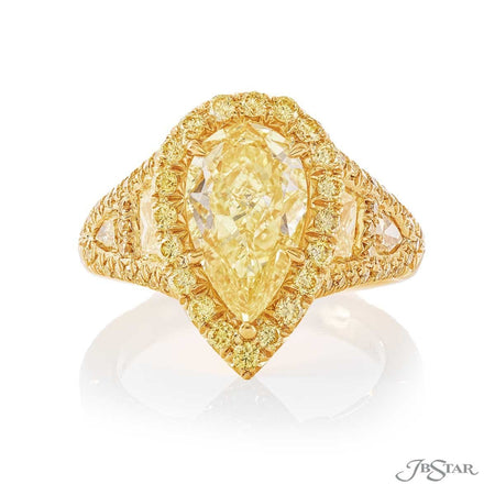 Fancy Yellow 2.02 ct Pear Shape Diamond Ring 0574-04