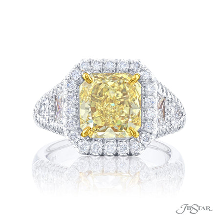 1112-001 | Fancy Yellow Diamond Ring 5.05 ct Cushion Cut GIA Certified Front View