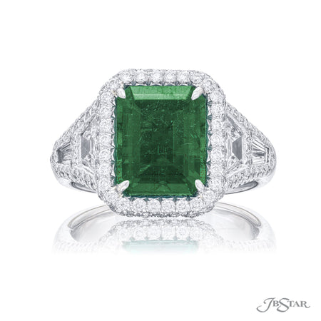 Stunning emerald and diamond ring featuring a magnificent 3.70 ct. emerald-cut emerald enhanced by trapezoid and tapered baguette diamonds on the shank and edged with micro pave. [details] Center Stone(s) SHAPE TYPE WEIGHT Emerald Emerald 3.70 ctw. Stone Information SHAPE TYPE WEIGHT Trapezoid Diamond 0.84 ctw. Tapered Baguette Diamond 0.24 ctw. Round Diamond 0.84 ctw. [enddetails] | JB Star 1113-008 Precious Color Rings