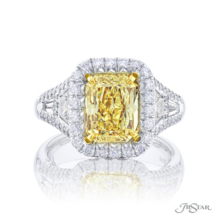 1113-013 | Fancy Yellow Diamond Ring 2.80 ct Radiant Cut GIA Certified Front View