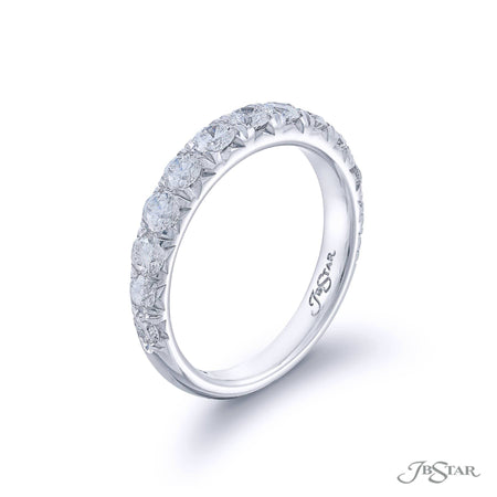 Beautiful diamond wedding band featuring 13 round diamonds in a cut down setting. Handcrafted in pure platinum. [details] Stone Information SHAPE TYPE WEIGHT Round Diamond 1.05 ctw. [enddetails] | JB Star 1130-008 Anniversary & Wedding