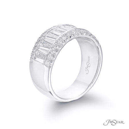 Dazzling diamond wedding band featuring our signature JB Star cut diamonds in a center channel with micro pave. [details] Stone Information SHAPE TYPE WEIGHT JB Cut Round Diamond Diamond 1.58 ctw. 0.46 ctw. [enddetails] | JB Star 1141-004 Anniversary & Wedding