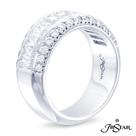 This exceptional wedding band in platinum features 13 perfectly matched JBS cut diamonds and 28 round diamonds hand crafted by master artisans. [details] Stone Information SHAPE TYPE WEIGHT JBS Cut Round Diamond Diamond 2.28 ctw. 0.56 ctw. [enddetails] | JB Star 1150-001 Anniversary & Wedding
