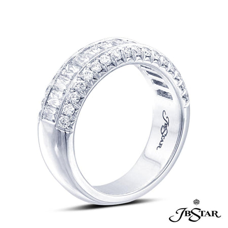 Exceptionally handcrafted platinum wedding band features our very own JB Star cut diamonds enhanced with pave accents. [details] Stone Information SHAPE TYPE WEIGHT JBS Cut Round Cut Diamond Diamond 1.66 ctw. 0.55 ctw. [enddetails] | JB Star 1153-001 Anniversary & Wedding