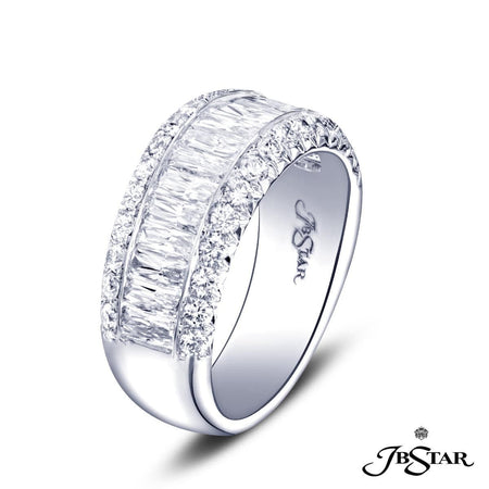 Gorgeous diamond wedding band featuring 16 JB Star cut diamonds in a center channel edged in micro pave. Handcrafted in platinum. [details] Stone Information SHAPE TYPE WEIGHT JBS Cut Round Cut Diamond Diamond 1.46 ct. 0.58 ct. [enddetails] | JB Star 1154-004 Anniversary & Wedding