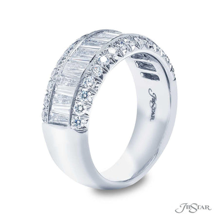 Stunning diamond wedding band featuring 16 tapered baguette diamonds in a center channel with round pave diamonds. Handcrafted in pure platinum. [details] Stone Information SHAPE TYPE WEIGHT Tapered Baguette Round Diamond Diamond 1.10 ct. 0.53 ct. [enddetails] | JB Star 1154-005 Anniversary & Wedding