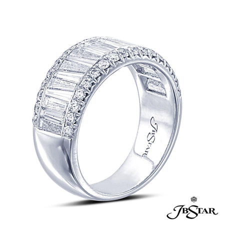 Platinum diamond band handcrafted with tapered baguettes set in a channel with round diamond pave. [details] Stone Information SHAPE TYPE WEIGHT Round Tapered Baguettes Diamond Diamond 0.44 ct. 1.67 ct. [enddetails] | JB Star 1156-003 Anniversary & Wedding
