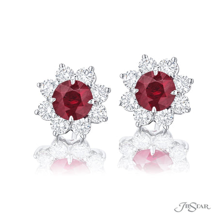 1169-026-Ruby and diamond stud earrings 3.26ctw floral design front view