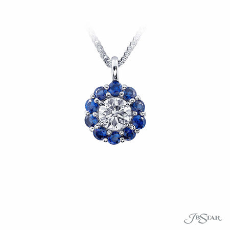 Gorgeous diamond and sapphire pendant featuring a 0.99 ct. GIA certified round diamond center encircled by 10 perfectly matched round sapphires. Handcrafted in pure platinum. [details] Center Stone(s) SHAPE TYPE WEIGHT COLOR CLARITY Round Diamond 0.99 ct. G SI1 Notes: GIA Stone Information SHAPE TYPE WEIGHT Round Sapphire 1.05 ctw. [enddetails] | JB Star 1169-066 Pendants