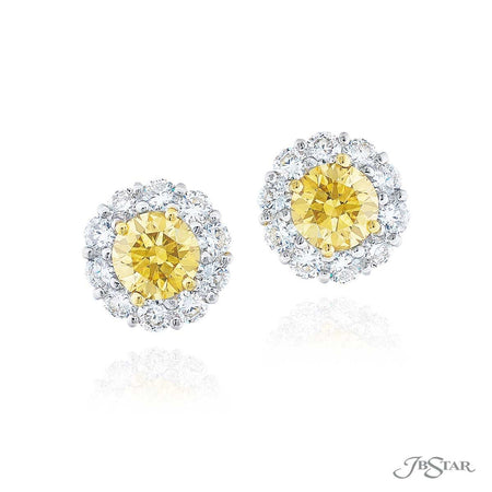 Beautiful fancy yellow diamond stud earrings featuring 2 GIA certified round fancy brown green yellow diamond centers encircled by round diamonds. Handcrafted in pure platinum and 18KY gold. [details] Stone Information SHAPE TYPE WEIGHT Round Fancy Brown Green Yellow Diamond 1.39 ctw. Round Diamond 0.95 ctw. [enddetails] | JB Star 1169-075 Earrings