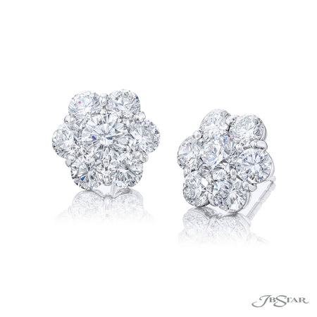 1169-077 | Diamond Stud Earring 5.23 ctw. Round Floral Design