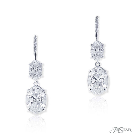 Gorgeous diamond drop earrings featuring GIA certified oval diamond centers hung by additional oval diamonds and round diamonds. Handcrafted in pure platinum. [details] Center Stone(s) SHAPE TYPE WEIGHT COLOR CLARITY Oval Oval Diamond Diamond 2.00 ct. 2.01 ct. G F SI2 SI2 Notes: GIA Stone Information SHAPE TYPE WEIGHT Oval Round Diamond Diamond 1.20 ctw. 0.04 ctw. [enddetails] | JB Star 1199-054 Earrings