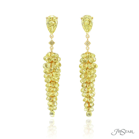 1199-058 | Fancy Yellow Diamond Drop Earrings 1.38 ctw. 18 KY Gold