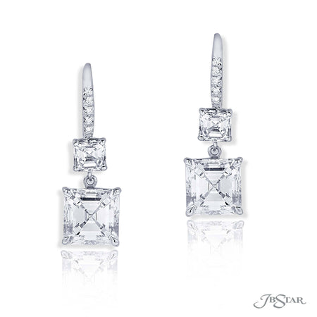 Dazzling diamond drop earrings featuring 2 GIA certified square emerald cut diamonds hung by two additional square emerald diamonds. Handcrafted in pure platinum. [details] Center Stone(s) SHAPE TYPE WEIGHT COLOR CLARITY Square Emerald Square Emerald Diamond Diamond 2.14 ct. 2.35 ct. I I SI1 SI1 Notes: GIA Stone Information SHAPE TYPE WEIGHT Square Emerald Diamond 1.45 ctw. [enddetails] | JB Star 1199-064 Earrings