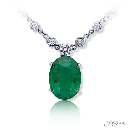 Dazzling emerald and diamond pendant featuring a 7.91 ct. emerald oval hung by a brilliant round diamond. Handcrafted in pure platinum. [details] Center Stone(s) SHAPE TYPE WEIGHT Oval Emerald 7.91 ct. Stone Information SHAPE TYPE WEIGHT Round Diamond 0.35 ctw. [enddetails] | JB Star 1199-069 Pendants