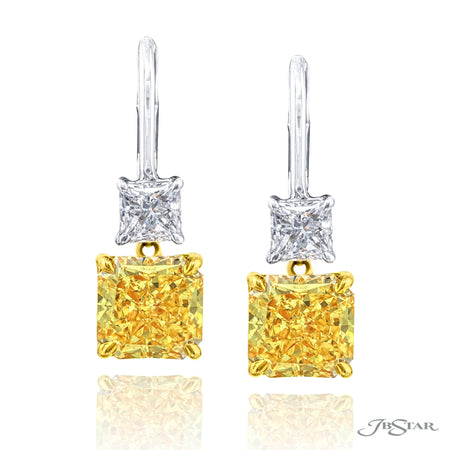 1199-083 | Fancy Yellow Diamond Drop Earrings Radiant-Cut 5.08 ctw.