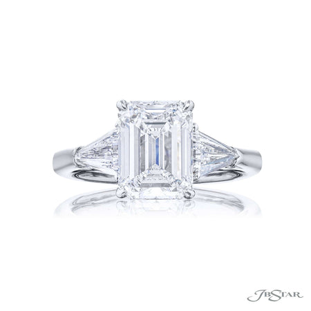 Platinum 3.01 ct Emerald Cut Diamond Engagement Ring with kite shaped side diamonds