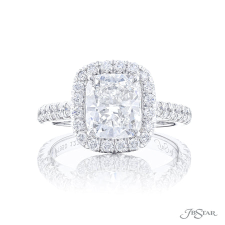 2.55 ct Cushion Cut Diamond Engagement Ring with Micro Pave Halo and Band 1224-009 top view