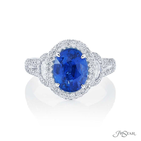 3.23 ct. Oval Blue Sapphire and Half Moon Diamond Ring 1309-004 Top View