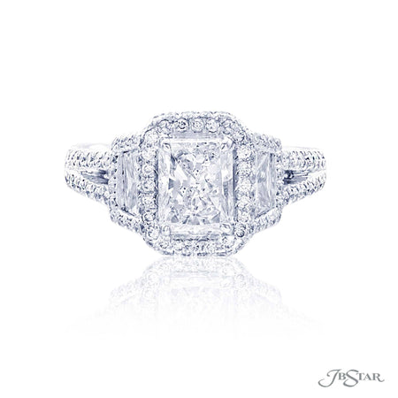 Platinum 1.50 ct radiant cut diamond engagement ring with side diamonds and micro pave halo