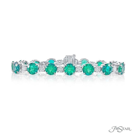 Round Emerald and Diamond Bracelet, Prong Set | 1332-002 | Fancy Color