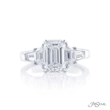 2.01 ct Emerald Cut Diamond Engagement Ring with side trapezoid and baguette diamonds