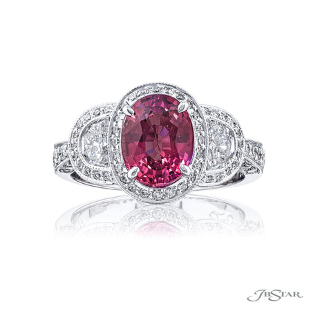 1349-019 | Pink Sapphire & Diamond Ring 2.18 ct. GIA Certified No Heat Front View