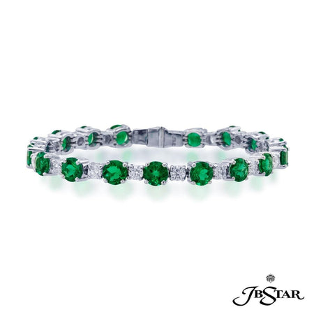 Platinum emerald and diamond bracelet handcrafted with perfectly matched round emeralds and diamonds in prong setting. [details] Center Stone(s) SHAPE TYPE WEIGHT Round Cut Emerald 12.25 ct. Stone Information SHAPE TYPE WEIGHT Round Cut Diamond 3.33 ct. [enddetails] | JB Star 1357-002 Bracelets