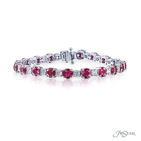 Magnificent bracelet featuring round rubies and round diamonds in an alternating design handcrafted in pure platinum. [details] Stone Information SHAPE TYPE WEIGHT Round Ruby 15.12 ctw. Round Diamond 4.24 ctw. [enddetails] | JB Star 1357-018 Bracelets