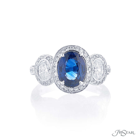 2.61 ct Oval Blue Sapphire and Diamond Micro Pave Ring 1359-060 Top View