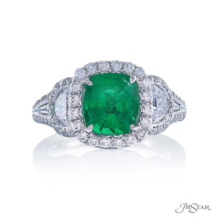 Dazzling emerald and diamond ring featuring a 1.94 ct. cushion-cut emerald accompanied by half moon and tapered baguette diamonds in a micro pave setting. Handcrafted in pure platinum. [details] Center Stone(s) SHAPE TYPE WEIGHT Cushion Emerald 1.94 ct. Stone Information SHAPE TYPE WEIGHT Half Moon Diamond 0.79 ctw. Round Diamond 0.73 ctw. Tapered Baguette Diamond 0.14 ctw. [enddetails] | JB Star 1366-015 Precious Color Rings