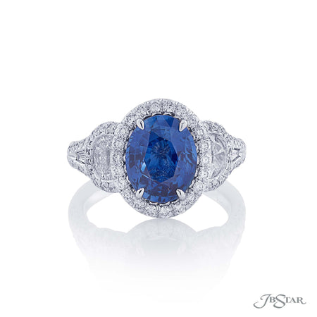 3.15 ct Oval Blue Sapphire and Diamond Fancy Color Ring | 1366-017 Top View