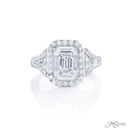 2.34 ct Emerald Cut Diamond Engagement Ring in Platinum micro pave setting