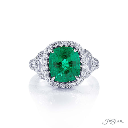 Dazzling emerald and diamond ring featuring a 3.58 ct. certified vivid cushion cut Colombian emerald accompanied by half moon and tapered baguette diamonds in a micro pave setting. Handcrafted in pure platinum. [details] Center Stone(s) SHAPE TYPE WEIGHT Cushion Vivid Emerald 3.58 ct. Notes: CDC Stone Information SHAPE TYPE WEIGHT Half Moon Diamond 0.70 ctw. Round Diamond 0.72 ctw. Tapered Baguette Diamond 0.15 ctw. [enddetails] | JB Star 1366-049 Precious Color Rings