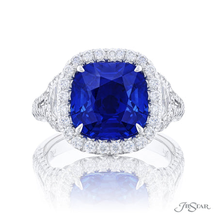 1366-050 | Sapphire & Diamond Ring 5.64 ct. Cushion Cut GIA Certified Front View