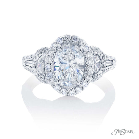 1.51 ct Oval Diamond Engagement Ring in Platinum Micro Pave Setting