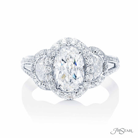 1.54 ct Oval Diamond Engagement Ring in Platinum Micro Pave Setting
