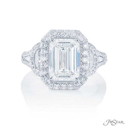 2.88 ct Emerald-Cut Diamond Engagement ring in Platinum Micro Pave Setting