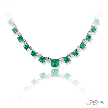 A captivating display of 28.52 ctw. cushion-cut emeralds blending with sparkling 3.76 ctw. princess cut diamonds. Handcrafted in pure platinum. [details] Stone Information SHAPE TYPE WEIGHT Cushion Emerald 28.52 ctw. Princess Diamond 10.10 ctw. [enddetails] | JB Star 1367-004 Necklaces