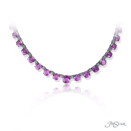 Dazzling pink sapphire and diamond necklace featuring 56.53 ctw. of round pink sapphires alternating between brilliant round diamonds. Handcrafted in pure platinum. [details] Stone Information SHAPE TYPE WEIGHT Round Pink Sapphire 56.53 ctw. Round Diamond 5.43 ctw. [enddetails] | JB Star 1367-005 Necklaces