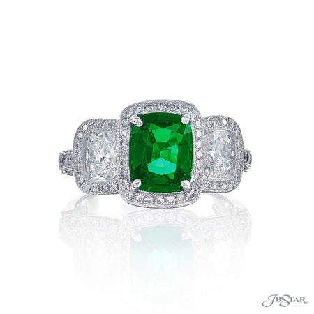 Gorgeous emerald and diamond ring featuring a 1.31 ct. cushion-cut emerald embraced by two cushion-cut diamonds in a micro pave setting. Handcrafted in pure platinum. [details] Center Stone(s) SHAPE TYPE WEIGHT Cushion Emerald 1.31 ct. Stone Information SHAPE TYPE WEIGHT Cushion Diamond 0.83 ctw. Round Diamond 0.55 ctw. [enddetails] | JB Star 1377-001 Precious Color Rings